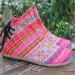 Amber Colorful Ethnic Womens Ankle Boots In Hmong Embroidery