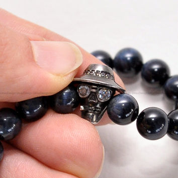 Smoking Cool Skull 925 Sterling Silver Charm, Blue Tiger Eye Beaded Bracelet, Natural Stone Beads, Unisex, Trendy, Pretty, Unique