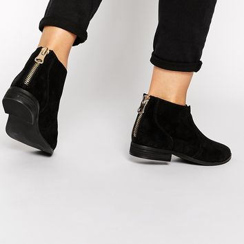 ALDO Rairdon Black Leather Flat Ankle Boots