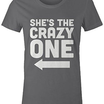 Shirts By Sarah Women's She's Crazy One Best Friend Mix Match Couples T-Shirt (Right)
