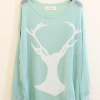 Mohair Holes Antlers Sweater  S003034