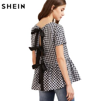 Women Short Sleeve Blouse Black And White Checkered Bow Split Back Top Plaid Women Cute Blouse