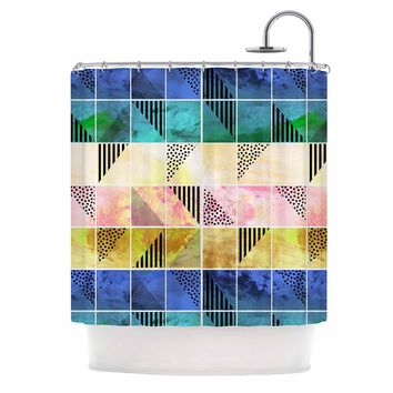 "bruxamagica ""Tartan Blue And Gold"" Coral Blue Abstract Pattern Digital Vector Shower Curtain"
