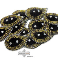 Beaded Applique Black Sewing Patches Indian Craft Art Costume Dresses Decorative Throw Black Appliques Free Shipping / 10 Pcs AP/BD/63