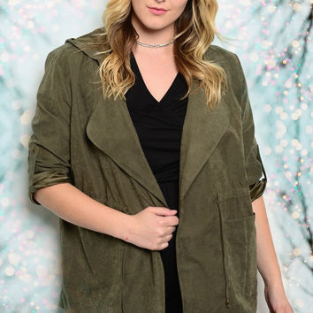 Plus Size Faux Suede Hooded Jacket