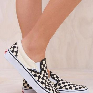Gotopfashion VANS Classic Slip On Black White Checkerboard Sneaker Flats Canvas Shoe I