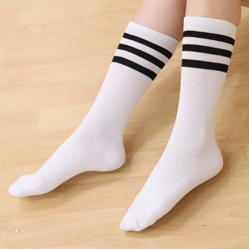 ZOCBBT 37CM Long Women Men Striped Stockings Japan Style Sexy Cotton Girl Fashion Cosplay School White Stocking Cotton Solid