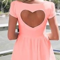 Light Neon Orange Peach Back Heart Cut Out Mini Dress Cap Sleeve Boat neck