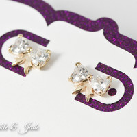 Small Gold CZ Bow Studs