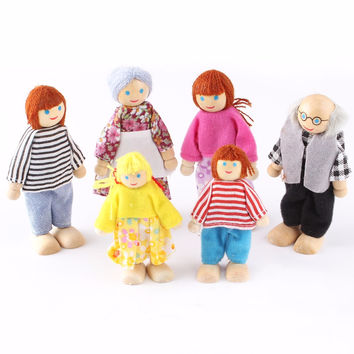 6 PCS Set Action Figure Wooden Toy House Pretend Doll Family Children Kids Playing Dolls for Girls Ragdoll Kids Toys
