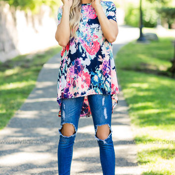 All Mine Neon Floral Printed Criss Cross Back Short Sleeve Top