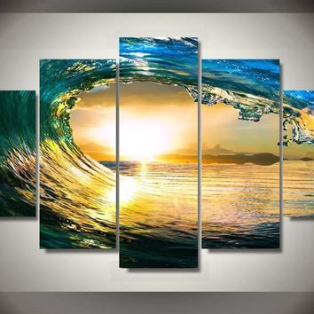 5 Pieces Canvas Paintings Modern Modular Picture Wall Art Print Blue Ocean Home Decoration for Living Room No Frame