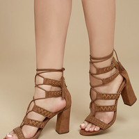 Report Myra Tan Suede Lace-Up Heels