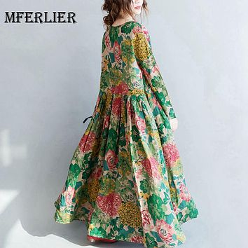 Mferlier Woman Autumn Winter Floral Dress O Neck Long Sleeve Pleated Waist Women Elegant Loose Cotton Linen Midi Dress