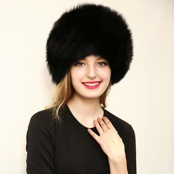 2016 Warm Women Hat Good Quality Faux Fur Crochet Beanies Caps Fox Fur Pompom Ball Pendant Russian Style Windproof Ear Prot Hats