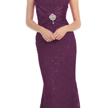 Short Sleeved V Neckline Long Plum Lace Column Gown