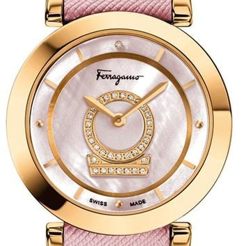Women's Salvatore Ferragamo 'Minuetto' Calfskin Leather Strap Watch, 37mm - Pink/ Gold