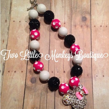 Minnie Mouse Chunky Necklace, Chunky Bubblegum Beads, Baby, Child, Adult, Photo Prop
