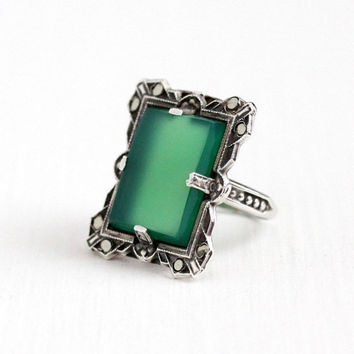 Vintage Art Deco Sterling Silver Marcasite & Dyed Green Chalcedony Ring - 1930s Size 5 1/4 Statement Green Gemstone Jewelry