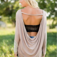 Khaki Cuff-Lace Open-Back Shirt