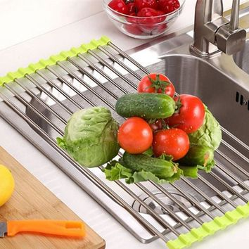Free Shipping - Stainless steel folding dish drainer Dryer For Fruit Vegetables