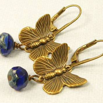 Butterfly Earrings - Cobalt Blue Glass Bead Brass Dangle Earrings