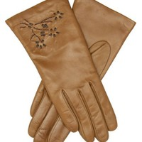 Italian Cashmere Lined Leather Gloves with Floral Accents Size 8 1/2 Color BRN By Fratelli Orsini (C