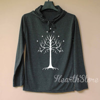 White Tree of Gondor Shirt Long Sleeve Hoodie TShirt T Shirt Unisex - size S M L