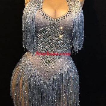 Stormy Tassel 3D Cleavage Diamante Bodysuit(Ready To Ship) (Rhinestones)