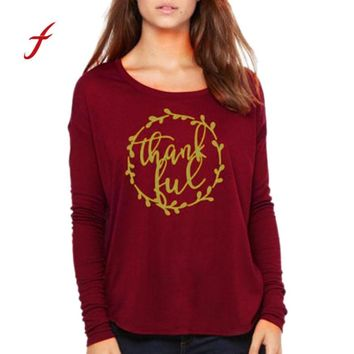 FEITONG Women's shirt Fashion Long Sleeve Letter Print Thanksgiving Red Blusa Tops T-Shirts New Autumn O-Neck Red Female T Shirt