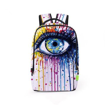 Free Shipping 3D Oil Printing Backpack Colorful School Bags For Teenager Back School Travel Bag