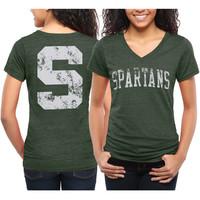 Michigan State Spartans Women's Slab Serif Tri-Blend V-Neck T-Shirt - Green