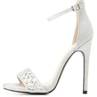 Glitter & Rhinestone Single Strap High Heels - Silver