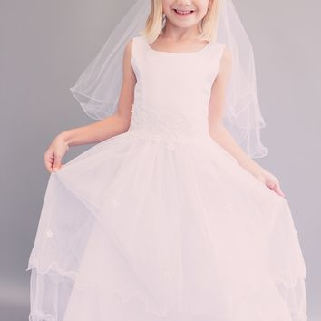 Satin, Tulle, Lace & Tiny Scattered Flowers First Holy Communion Dress in White or Ivory (Girls Sizes 6 to 16)