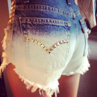 HIGH WAISTED vintage STUDDED  shorts (Made to Order)