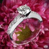 "18k White Gold Half Eternity ""Bead-Set"" Diamond Engagement Ring"