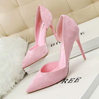 Women Classic Pumps Flock Suede High Heel Shoes Pointed Thin Heeled Sexy Elegant OL Office Shoes Single Women Heels Shoes 3168-6