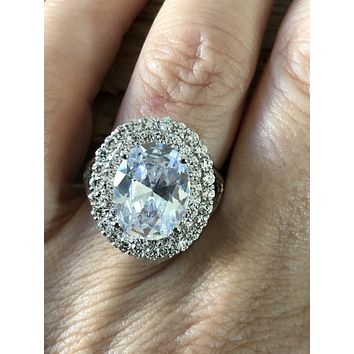 SAMPLE SALE  8.5CT Oval Cut Russian Lab Diamond Engagement Ring Size 7