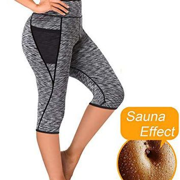 LAZAWG Women Sauna Weight Loss Slimming Neoprene Pants with Side Pocket Hot Thermo Fat Burning Sweat Capris Leggings