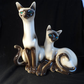 TV Lamp-Cat-Night light-Siamese Cat Lamp-Vintage TV Lamp With Two Cats-Green And Blue Eyed Siamese Cats Figure