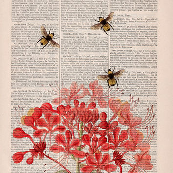 Bees with flowers - Upcycled Dictionary Page Book Art