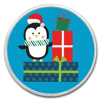 1 oz Silver Round - Penguin with Presents