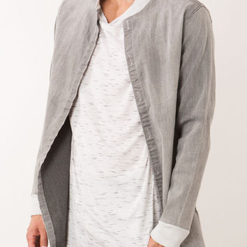 Light Grey Distressed Denim Long Shirt Jacket