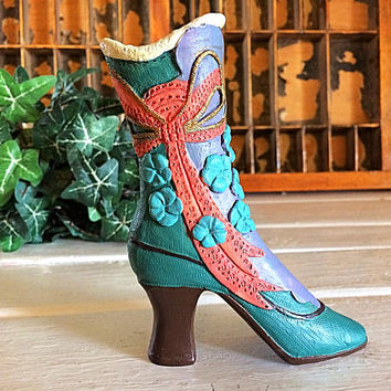 Vintage Shoe Figurine, Victorian Shoe, Shoe Figurine, Boot Figurine, Vanity Shoe Décor, Shoe Décor, Turquoise Shoe, Collectible Shoe, Shoe