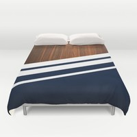 Wooden Navy Duvet Cover by Nicklas Gustafsson