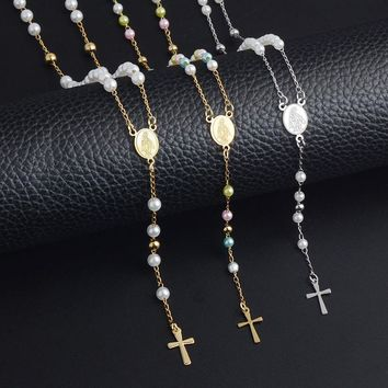 RIR Women Stainless Steel Jesus Christ Cross Bead Chain Catholicism Pendant Rosary 3 color Pearl Long Necklace Religious jewelry