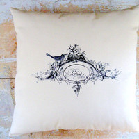 Paris Pillow French Country Pillow Bird Pillow by parismarketplace