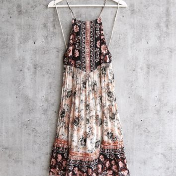 Free People Casablanca Halter Slip Dress In Ocean Shell Combo