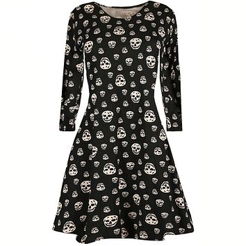Women's Halloween Skull Printed Loose Long Sleeve Party Mini Dress