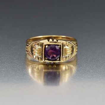 Art Deco Vintage Gold and Amethyst Band Ring